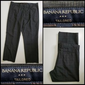 Banana Republic Men Tailored Plaid & Check Pants